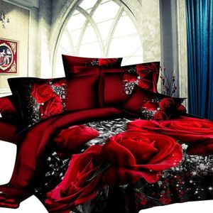 3D Bettlaken Bettbezug, großes rotes Rosenbett 4 Stück Bettbezug