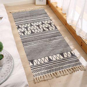 Flickenteppich Baumwolle Leinen Waschbar Multifunktion Rag Rug Teppich Läufer Indien Ethno Boho Handgewebt mit Fransenquaste,XL-FGGT-3,60x130cm