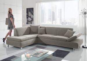 Max Winzer Prag Ecksofa links mit Sofa 2,5-Sitzer rechts - Farbe: silber - Maße: 272 cm x 189 cm x 76 cm; 25581-264-1643728-MET