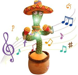 Tanzender Kaktus Elektrisches Plüschtier, USB-Aufladung Singender und Sprechender Kaktus Kuscheltiere mit 120 englischen Liedern, Spielzeug Geschenk für Jungen, Mädchen(C)