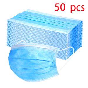 50Pcs Einweg-3-Lagen-Maske Vliesfasergewebe Gesichtsmaske Anti Staub Hygienemaske,SchutzmaskeDer Filtrationseffekt erreicht 95%【Nicht medizinisch】