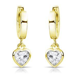 MATERIA Kinder Ohrringe Gold Zirkonia Herzen - kleine Creolen Silber 925 vergoldet für Mädchen in Etui #SO-389-Gold