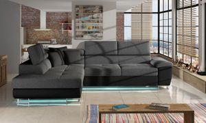 Mirjan24 Ecksofa Cotere LED, Stilvoll L-Form Schlafsofa mit Bettkasten, Polsterecke vom Hersteller (Farbe: Soft 011 + Lux 06 + Soft 011, Seite: Links)