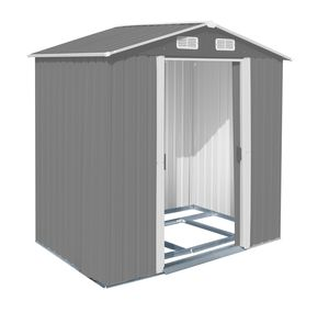 Gerätehaus warm-grau/weiß, 1320 x 2040 x 1855