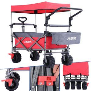 AREBOS Bollerwagen Faltbar mit Dach Handwagen | Klappbar | Gerätewagen | Inkl. Gurt (Rot)