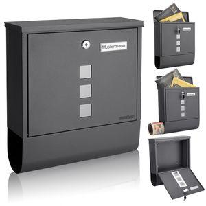 Monzana Design Briefkasten Stahl mit Zeitungsfach Sichtfenster 2 Schlüssel Namensschild Wandbriefkasten, Farbe:anthrazit