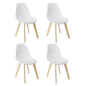 WENKO 4er Set Sala Schalen-Esszimmerstühle weiß, abwaschbar | Stuhl-Beine aus Massiv-Holz Buche, skandinavisches Design