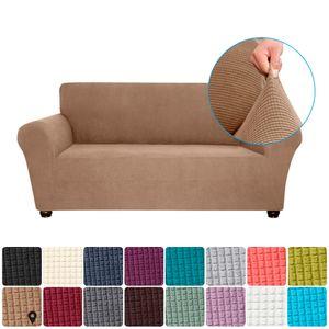 Stretch Sofa Schonbezug Elasthan Anti-Rutsch Soft Couch Sofabezug 2-Sitzer Waschbar für Wohnzimmer Kinder Haustiere (Kamel)