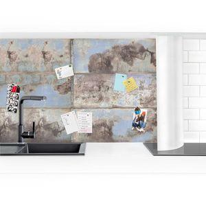 Küchenrückwand - Shabby Industrial Metalloptik, Größe HxB:100cm x 150cm, Ausführung:Smart matt