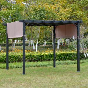 Outsunny Pavillon 3x3m Pergola mit einstellbarem Stoffdach UV+ Überdachung Wasserfest Sonnenschutz Polyester Stahl Braun+Schwarz