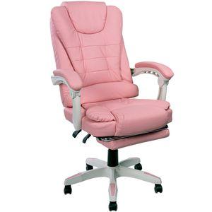 Schreibtischstuhl Design Bürostuhl Racing Chair Chefsessel Gamingstuhl Fußstütze, Farbe:Rosa
