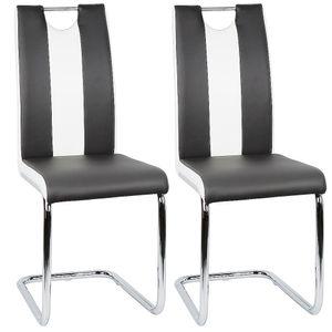 2 tlg Esszimmerstühle Set Freischwinger Stühle Schwingstuhl Hochlehner Esszimmer  Schwarz und weiß