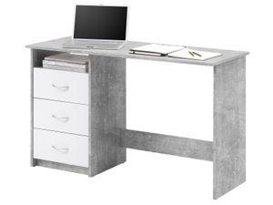 """Schreibtisch Computertisch Arbeitstisch Bürotisch Laptoptisch Büromöbel """"Mack I"""" Beton/Weiß"""