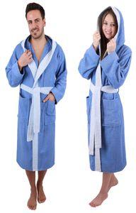 Betz Bademantel mit Kapuze PARIS 100% Baumwolle für Damen und Herren 2-farbig, Größe - L - jeansblau-hellblau