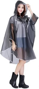 Damen Transparent Regenponcho Regenumhang Motorad Regenmantel Regenjacke aus EVA Wasserdichte Trenchcoat Parka Regenkleidung Raincoat Regencape
