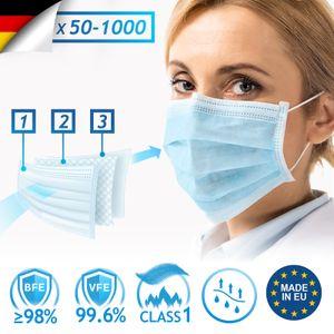 Virshields® Medizinischer Mundschutz - Typ IIR, BFE 98% / VFE 99,6%, DIN EN 14683,  EU, 50 STK, 3-lagig - OP Masken, Mund und Nasenschutz, Einweg Gesichtsmaske, Einwegmasken, Schutzmasken