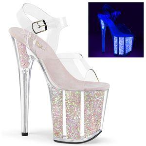 Pleaser FLAMINGO-808UVG Sandaletten neon opal glitter weiß, Größe:EU-37 / US-7 / UK-4