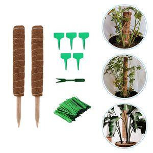 1 Satz Coir Totem Pole Plant Kletterstütze mit Drähten Tags Shovel (Brown)