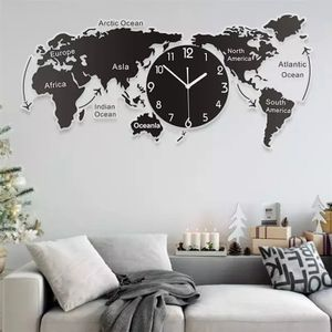 Einzigartige Acryl Wanduhr Kreative Welt Karte Wand Hängen Uhr Für Office Home Wohnzimmer Wand Kunst Hause dekorationen