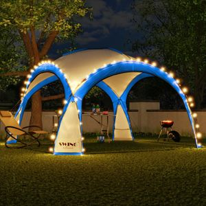 LED Event Pavillon 3,6 x 3,6m DomeShelter Garten Pavillion inkl. Solarmodul Pavilion Designer Gartenzelt Camping Pavilon Partyzelt mit Beleuchtung - blau