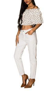 Damen Mom Jeans High lockere stretch Hose weites Bein Carotte Cropped, Farben:Weiß, Größe:42