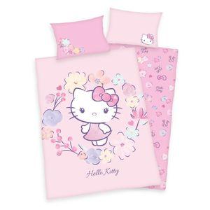 """""""Hello Kitty""""  Bio-Bettwäsche /  Babybettwäsche / Kleinkinderbettwäsche, 100% Baumwolle ( Renforcé, GOTs  ), 40x60 cm + 100x135 cm"""