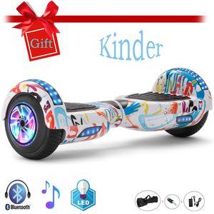 6.5 Hoverboard Weiß- Kinder Sicherheitsmodus- Bluetooth Lautsprecher - Starker Dual Motor - LED - Elektro Skateboard Self Balance Scooter