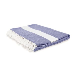 Lumaland Baumwolldecke 200x240cm Tagesdecke aus 100% Baumwolle Marine Blau