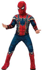 Spiderman Kostüm | Größe: L (122-128) | 2-teilig: Overall mit Muskeln aus Schaumstoff & Maske mit extra langem Kragen | Kinder & Jugendliche