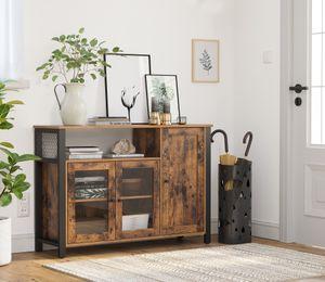 VASAGLE Sideboard, Kommode, 110 x 33 x 75 cm, Küchenschrank, Aufbewahrungsschrank, mit 3 Türen, Industriestil, vintagebraun-schwarz LSC096B01