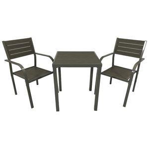 Garnitur 3 Teilig Stahl und Poly-Wood Grau