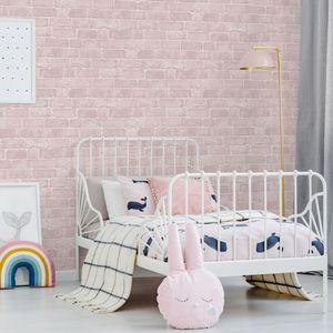 Fresco - Papiertapete - Backsteine - Rosa - 10mx53cm