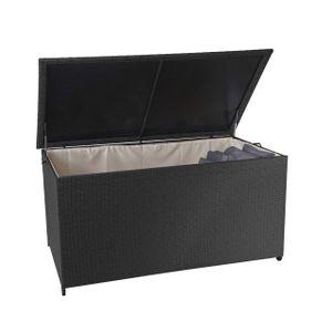 Poly-Rattan Kissenbox HWC-D88, Gartentruhe Auflagenbox Truhe  Premium schwarz, 80x160x94cm 950l