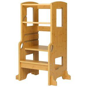 PRASACCO Kinderhocker Kinder Tritthocker 40,5x39,5x89,5cm Lernturm mit 2 Stufen,  Kinder Schemel Hocker Kinder Kinderhocker für Mädchen & Jungen, Natur