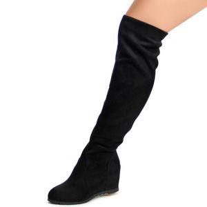 topschuhe24 993 Damen Stiefel Overknee Keilabsatz, Farbe:Schwarz, Größe:37 EU