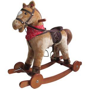 Schaukelpferd mit Sound und Rollen Holz Plüsch Schaukel Pferd bis 20kg NEU SP1 Hellbraun