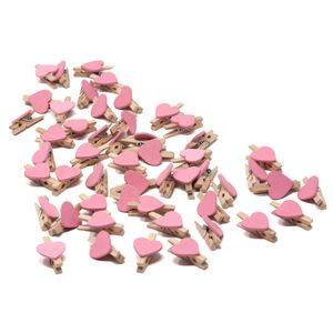 Oblique Unique 50 Mini Herz Holz Wäscheklammern Holz Miniklammern mit Herzen kleine Deko Klammern Hochzeit - rosa