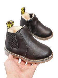 Kinder Jungen Und Mädchen Einfarbige Stiefeletten Kurze Lederschuhe Martin Stiefel,Farbe: Schwarz Plus Samt,Größe:29