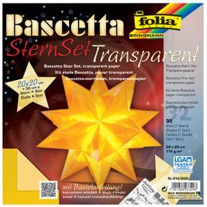 folia Faltblätter Bascetta-Stern 200 x 200 mm 115 g/qm 32 Blatt gelb-transparent