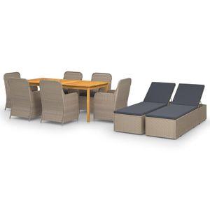 Gartenmöbel Essgruppe 8 Personen ,9-TLG. Terrassenmöbel Balkonset Sitzgruppe: Tisch mit 8 Stühle Braun❀1952