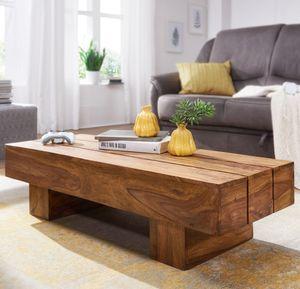 WOHNLING Couchtisch SIRA Massiv-Holz Sheesham 120cm breit Design Wohnzimmer-Tisch dunkel-braun Landhaus-Stil Beistelltisch