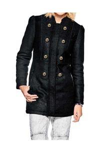 Mandarin Damen   Wollkurzmantel, schwarz, Größe:36