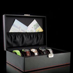 10 Slots Uhrenbox Uhrenkoffer Uhrenaufbewahrungsbox Kunstleder Uhrenkasten Uhrenschatulle Geschenkbox Schwarz
