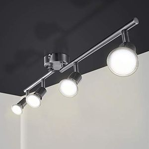 Wolketon LED Deckenleuchte Schwenkbar Deckenlampe 230V Deckenstrahler inkl. 4x 4 W Warmweiss GU10 Deckenspot 4 flammig Leuchten, 83 x 17 x 9 cm [Energieklasse A++]