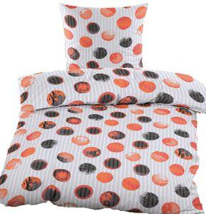 Baumwoll Seersucker Bettwäsche, 135 x 200 + 80x80cm, weiß, mit Punkten, bügelfrei, 100% Baumwolle