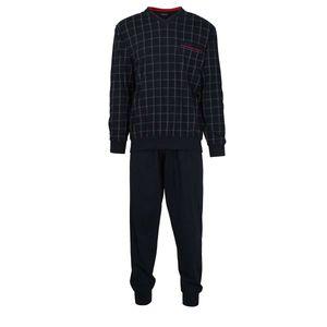 GÖTZBURG Herren Schlafanzug lang - Pyjama V-Ausschnitt, Pure Baumwolle Marine 4XL
