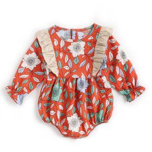 Neugeborene Kleidung Herbst und Winter Blumen Babykleidung Langarm Overall Koreanisches Baby Ha Yi Fruehling Kinderkleidung grenzueberschreitend ins BRW9106-RD grosses Blumendreieck klettern rot 6-12m