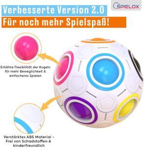 SPIELOX® Regenbogenball für Kinder und Erwachsene, Innovatives und Hochwertiges Knobelspiel, Geschicklichkeitsspiel und Stressball in einem, perfekte Geschenkidee für Jung und Alt - Verbessertes Konzept 2021