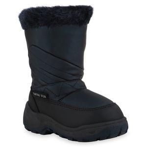 Mytrendshoe Kinder Warm Gefütterte Winter Boots Bequeme Kunstfell Schuhe 836086, Farbe: Schwarz Dunkelblau, Größe: 28