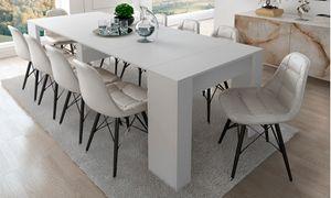 Skraut Home - Esstisch ausziehbar bis 237 cm, mattweiß, Maße geschlossen: 90x50x78 cm hoch